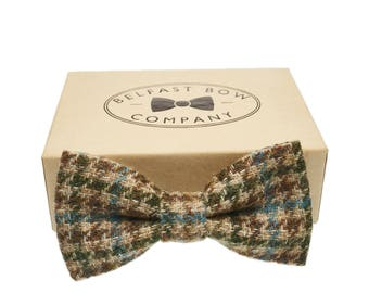 Handmade Check Bow Tie in Oatmeal Teal - Adult & Junior sizes available