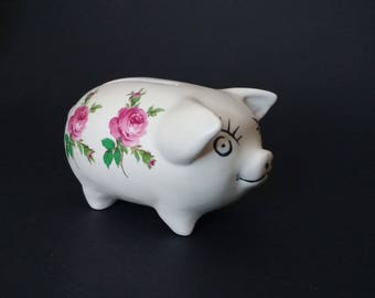 Piggy bank decorated with pink roses, large eyelashes, big eyes, children's money bank, kitsch, floral, ceramic