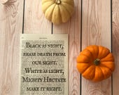 Resurrection Spell quote Dictionary Print / Practical Magic / Sally and Jillian Owens / Spooky / Literature Print / Book Print
