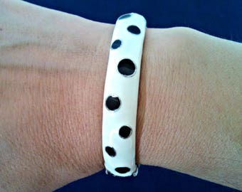 Vintage Bangle Bracelet, Black and White Polka Dot Enamel, Hinged Bracelet, Mid Century, Circa 1960s, Includes Gift Box