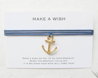 Wish bracelet, make a wish bracelet, friendship bracelet, anchor bracelet, W64