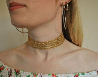 Wide gold choker sparkly large necklace