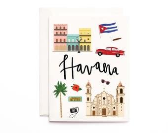 Havana Card, Illustrated Havana Cuba Greeting Card, Havana Gift