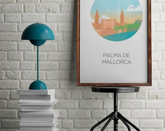 Spain city print for home decor, Mallorca draw, gift for her, wall decor