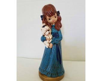 Vintage Big Eyes Girl Figurine,Girl and her Dog,Kitschy,Big Eyes,Mod Girl Figurine,Collectible Figurines,MCM,MOD,1960s Girl, Big Eyed,1970s