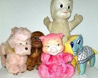 Vintage Toys,Misfit Toys,Toy Destash,Casper,Poodle,Rubber Face Pig,Carnival Prize,Dog,Thumbsucker,Monchichi,Kitsch,Plushie,1960s
