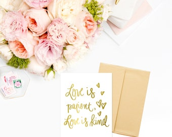 Gold Foil Love Is Patient Cards | Wedding Card Wedding Gift Engagement Gift Gift for Her Bridal Shower Gift Anniversary Card Girlfriend Gift