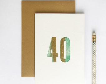 40th Birthday Letterpress Card