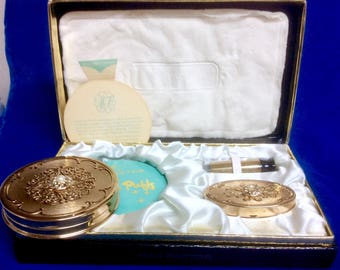 Outstanding Vintage Like New Max Factor Powder Compact Lipstick and Case Gift Set All Original