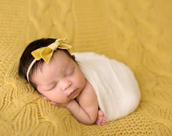 ANTIQUE GOLD VINTAGE Velvet Hand-tied Bow (Headband or Clip)- velvet bow headband; velvet bow; newborn headband; baby headband; toddler bow