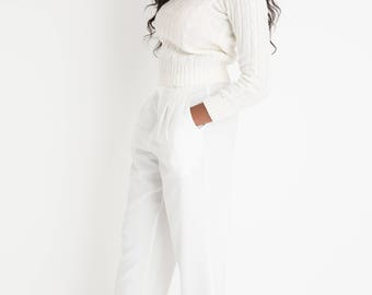 70s White Crop Cable Sweater XS