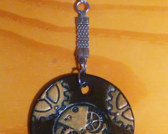 STEAMPUNK, Brown and bronze, etched and hand painted keychain