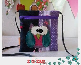 """Pocket zippered shoulder """"Bigkarre"""" OWL-black/purple"""