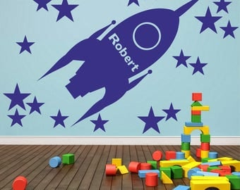 Rocket Ship With Personalised Custom Bespoke Name Wall Sticker Space Boys Bedroom | NA2