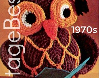 EASY to CROCHEt - PdF Pattern - OWL Crochet Pattern Vintage 1970s Stuffed TOY Owl Crochet Pattern Retro Amigurumi Bird Graduation Professor