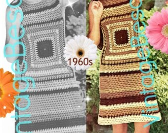 2 Patterns - Vintage Dress Crochet Pattern 1960s Crochet Dress Pattern Afghan Dress w BERET Top Skirt Party Summer PdF
