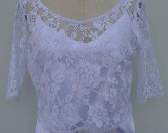 Top white bridal lace, lace blouse, lace top short sleeve white, Bridal lace flowers top 3/4 white lace top