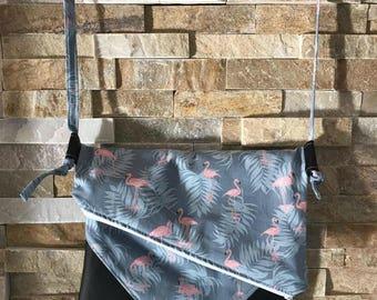 Bag tuck strap shoulder adjustable Vegan all use bag hand - flamingos