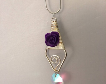 Purple Rose and Shimmering Crystal Charms