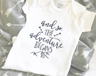 Adventure, Baby Clothing, Coming Home Outfit, Baby Boy, Infant Bodysuit, Cute Bodysuit, Baby Top, Baby Shower Gift