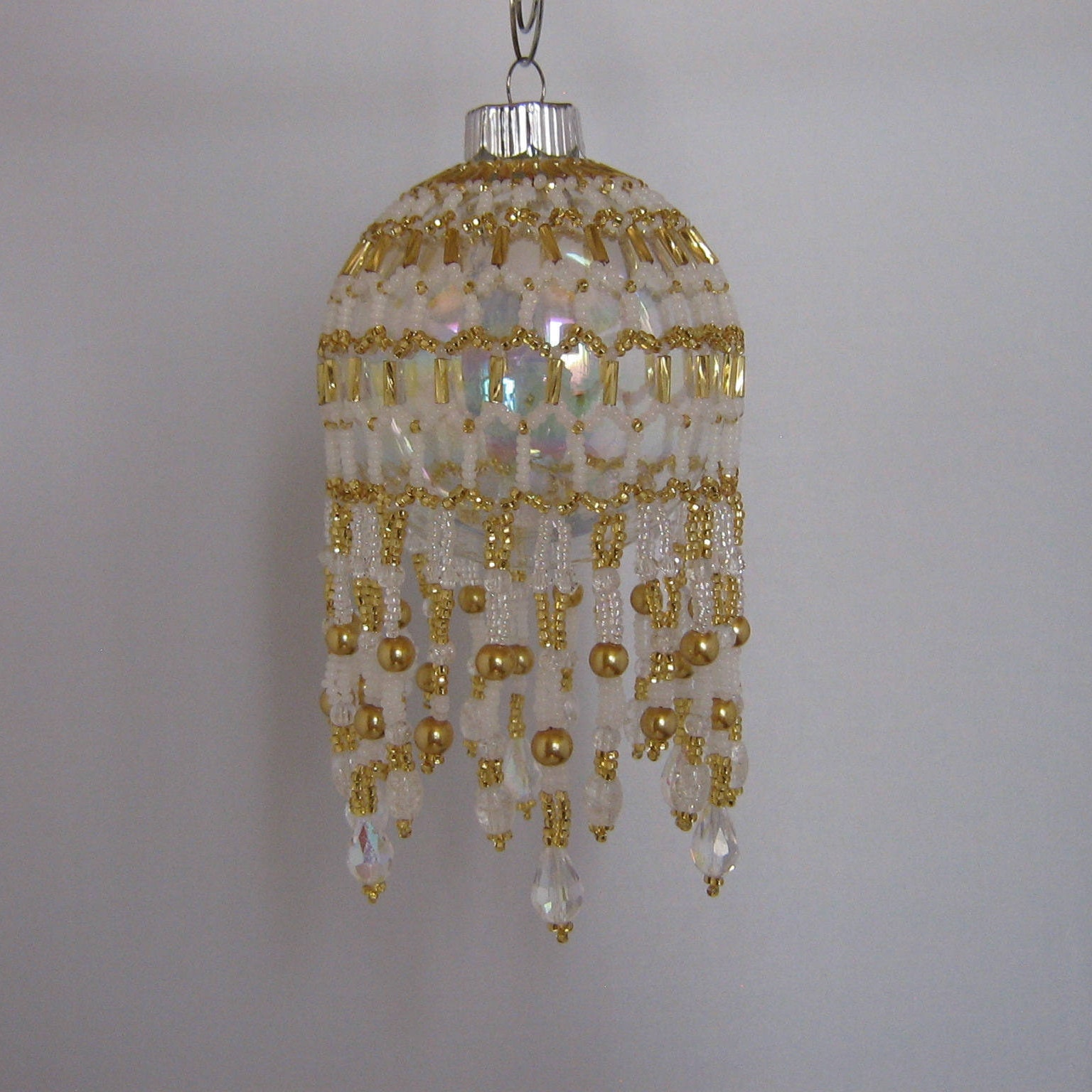 White andgold beaded victorian style christmas ball cover 1116w1ljp aloadofball Images
