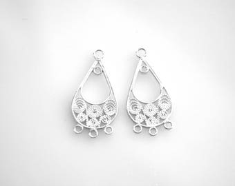 Sterling Silver Filigree Earring Chandelier, 25mm, Fancy design, 1 pr, 4 loop earring pendant components, Wholesale bead supplies