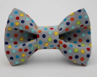 Polka Dot Dog Collar Bow Tie, Grey Dog Bow Tie, Rainbow Dog Bow Tie, Wedding Dog Collar Bow Tie, Custom Dog Bow Tie