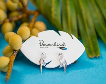 Parrot Origami Sterling Silver Stud Earrings