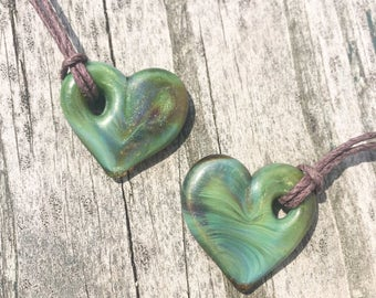 Sparkly Green Glass Heart Pendant