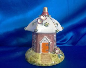 Victorian Staffordshire Polygon Cottage Pastille Burner with Flowery Decoration