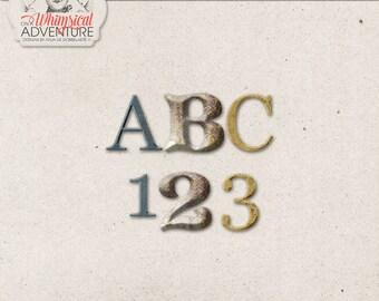 Blue Wonderland Digital Alphabet Clip Art, Chunky Alpha, Instant Download, Gold Letters and Numbers, Digital Scrapbooking Embellishments
