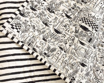 Rifle Paper Co. Wholecloth Baby Quilt in Wonderland in Black and White > MADE-to-ORDER alice in wonderland quilt, black white baby quilt
