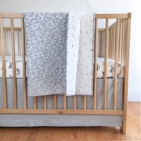 Baby Toddler Quilt - Sleep Tight in White - READY-to-SHIP - bunny baby quilt, grey crib quilt, metallic silver quilt, unicorn baby bedding