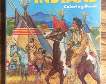 1950's All About Indians Coloring Book / Whitman Publisher / Collectible