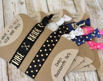 TEN Bride Tribe Hair Ties - Bridesmaid Gift - Stagette Party Favors - Hair Tie Bracelet - Bachelorette Party Favor - Bride Tribe Favors