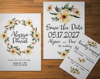 Wedding invitation set Digital wedding invite Spring Watercolor wreath invitation Wreath invite Bohemian wreath Spring wedding Boho invite