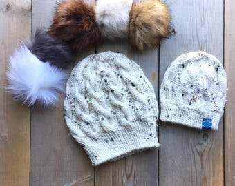 Mommy and Me (0-6 Months) Matching Cable Knit  Hats in Ivory Fleck - Pick Your Pom // Toques for Kids // Hats For Mom and Newborn Baby