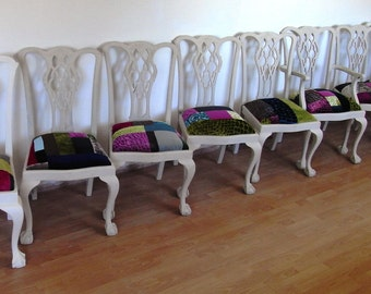 A Set of 8 Painted  Chippendale style Solid mahogany Dining Chairs with Patchwork Seats