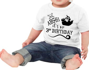 Argh! Its Me 3rd Birthday Kid Child Children Toddler Tee T-Shirt Shirt Clothes Third Three Year Old Gift Idea Pirate Ship Scull Crossbones