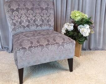embossed gray velvet slipcover chair cover for armless chair slipper chair accent chair