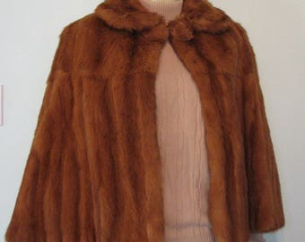 Vintage Cape Real Fur Large Buttons 1930s 1940s Shrug