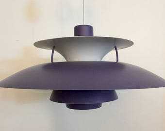 Mid Century Danish Modern PH5 Purple & White Pendant Lamp by Poul Henningsen