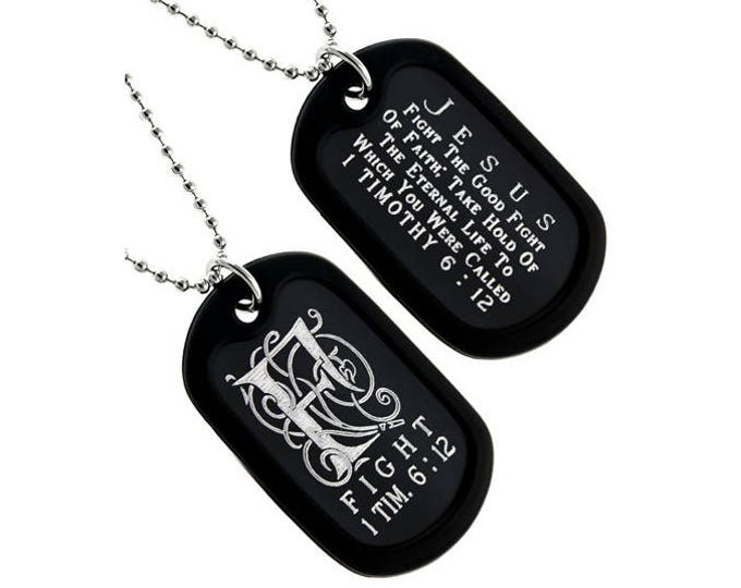 "Dog Tag Necklace  ""Fight"" Monogram Double Sided Engraved"