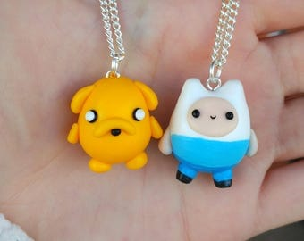 Jake and Finn Necklace or Keychain Adventure Time  hugged Lovely Friends