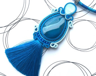 Bohemian Pendant, Blue Necklace, Boho Chic Jewelry, Gift For Woman, Glamour Pendant, Emboidered Jewelry, Blue Tassel Necklace