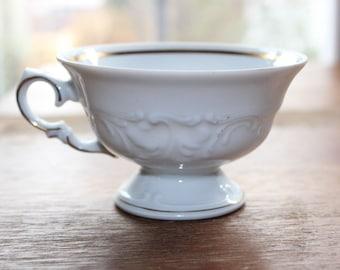 Vintage WAWEL CASA ORO Teacups White, Embossed Scrolls, Scalloped - Set of 8