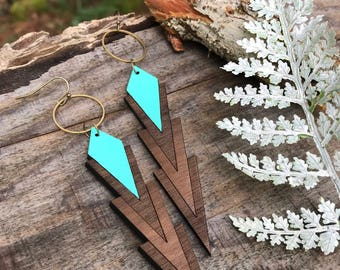 Wooden Earrings - Geo Diamond