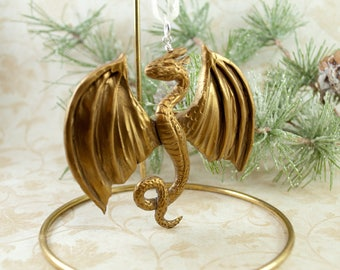 Dragon Christmas Ornament, Gold Dragon Ornament, Dragon Crest Ornament, Fantasy Ornament, Geeky Christmas, Dragon Xmas, Holiday Dragon, Gift