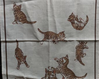 Retro Kitsch Tea Towel with Cat and Kitten caricatures pictures. RSPCA  Kitchen Tea Towel Dish Cloth