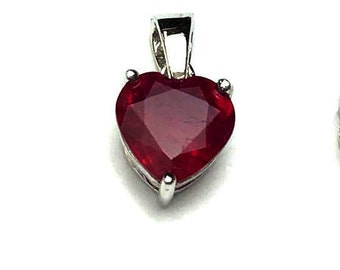 9x9 MM Ruby Glassfilled Cut Pendent Silver 92.5%